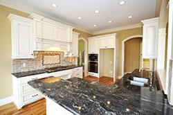 Black Granite kitchen white cabinets - Akron Akron